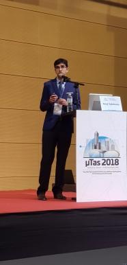 Nishanth presenting at MicroTAS 2018, Kaohsiung, Taiwan
