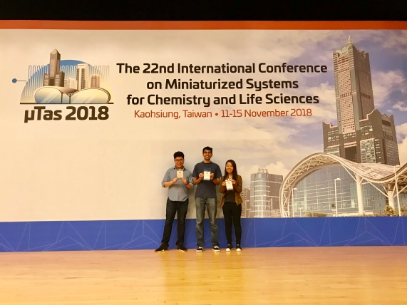 Chayakorn, Nishanth and HuiMin at MicroTAS 2018, Kaohsiung, Taiwan