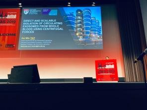 HuiMin presenting at Microtas 2019, Basel, Switzerland